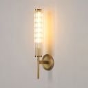 Glimmering Crystal Tube Wall Light Modern Stylish Sconce Light in Gold for Hotel Bedside