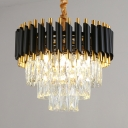 Metal Round Hanging Light with Striking Crystal Dining Room Modern Luxurious Chandelier in Black