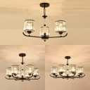 Study Room Drum Ceiling Pendant Metal 3/6/8 Bulbs Traditional Style Black Chandelier with Crystal