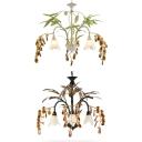 3 Lights Petal Chandelier with Leaf & Crystal Rustic Metal Ceiling Pendant in Black/White for Shop