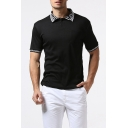Mens Fashion Simple Logo Turn-Down Collar Short Sleeve Relaxed Fitted Polo Shirt