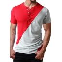 Mens Unique Grommet Embellished Round Neck Short Sleeve Fashion Two-Tone Henley Shirt