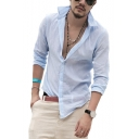 Guys Summer Holiday Fashion Washed Simple Plain Long Sleeve Casual Linen Shirt