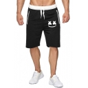 Popular Fashion Smiley Face Print Drawstring Waist Cotton Sweat Shorts for Men