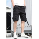 Cool Fashion Solid Color Buckle Strap Design Flap Pocket Drawstring Waist Casual Cotton Cargo Shorts