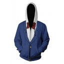 New Trendy Comic Cosplay Costume Long Sleeve Loose Fitted Blue Zip Up Hoodie