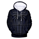 New Stylish Cool Navy Spider Printed Long Sleeve Casual Loose Pullover Hoodie