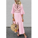 New Fashion Tribal Floral Printed Bell Half Sleeve Split Front Maxi Boho Dress
