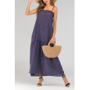 Summer Fancy Royal Blue Plaid Printed Maxi Beach Swing Cami Dress
