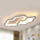 Kids Cloud LED Flush Mount Light Acrylic Gray Ceiling Lamp in Warm/White for Nursing Room