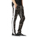 Cool Fashion Camouflage Printed Contrast Patched Drawstring Waist Sport Joggers Pencil Pants