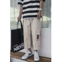 Trendy Colorblocked Multi-pocket Design Rolled Trim Straight Leg Men's Casual Loose Cotton Cargo Pants