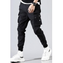 Men's Cool Fashion Solid Color Multi-pocket Drawstring Waist Elastic Cuffs Black Cotton Cargo Pants