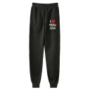 Popular Letter I LOVE YOU 3000 Heart Printed Drawstring Waist Casual Sport Cotton Sweatpants