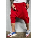 Mens Simple Fashion Drop-Crotch Drawstring Waist Plain Cropped Harem Pants