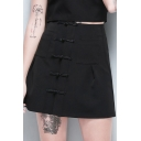 Punk Style Vintage Frog Button Down Plain Mini A-Line Black Skirt for Girls