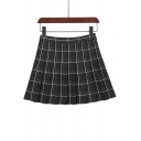 Girls Preppy Style Classic Plaid Print High Rise Mini A-Line Pleated Skirt