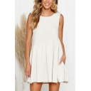 Summer Trendy Simple Plain Round Neck Sleeveless Mini Linen Casual Tank Dress