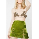 Girls Cool Street Style Retro Frog Button Mini Bodycon Velvet Skirt