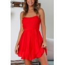 Womens Plain Fashion Ruffled Hem Tied Waist Mini A-Line Cami Dress