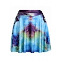 Fancy Turquoise Galaxy Printed High Rise Mini Pleated Skater Skirt