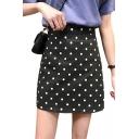 Summer Girls Fancy Polka Dot Printed High Rise Mini A-Line Skirt