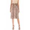 Trendy Khaki Snakeskin Print Bow-Tied Waist Midi Fitted Tube Skirt