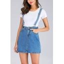 Womens New Stylish Mini A-Line Overall Suspender Denim Skirt