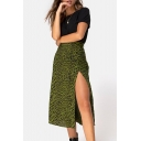 Womens Fashion Green Leopard Printed Split Side Midi Sexy Skirt