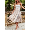 Womens Apricot Simple Plain Elastic Waist Midi A-Line Chiffon Pleated Skirt