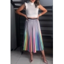 Fancy Rainbow Ombre Color Maxi A-Line Pleated Skirt for Women