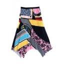 Unique Designer Fashion Colorblock Midi A-Line Pleated Skirt