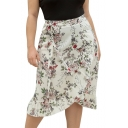 Womens Plus Size Fashion White Floral Printed Tied Waist Wrap Front Midi Ruffled Skirt
