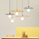 Macaron Disc Hanging Light for Cafe Restaurant Metal Sheet 1-light Pendant Lamp in Multi Colors
