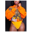 Womens Unique Fashion Camo Patched Long Sleeve Orange Cropped Loose Hoodie