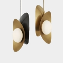 Post Modern Ellipse Hanging Light White Glass Shade 2 Lights Pendant Lamp in Black/Gold