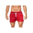 Summer Trendy Contrast Stripe Print Drawstring Waist Beach Shorts Casual Loose Sport Shorts for Men