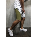 Summer Trendy Colorblock Patched Drawstring Waist Casual Sports Sweat Shorts for Men