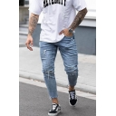 Men's Street Style Knee Cut Light Blue Casual Skinny Ripped Jeans