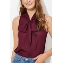 Hot Popular Burgundy Simple Plain Bow-Tied Collar Sleeveless Casual Blouse Top