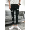Men's Fashion Letter Printed Rolled Cuffs Black Slim Fit Ripped Jeans