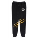 Men's Hot Fashion Chinese Letter Scratch Cosplay Printed Drawstring Waist Casual Sweatpants