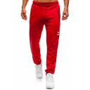 Men's Letter Stripe Printed Zip Pocket Drawstring Waist Casual Sports Sweatpants
