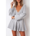 Womens Trendy Plain Surplice V-Neck Puff Long Sleeve Tied Waist Mini A-Line Dress