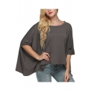 Womens New Trendy Solid Color Round Neck Batwing Sleeve Loose Casual T-Shirt