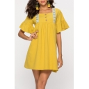 Summer Trendy Yellow Square Neck Button Front Ruffled Sleeve Mini Swing Dress