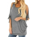 Summer Womens Hot Trendy Round Neck Cutout Sleeve Plain Oversized T-Shirt