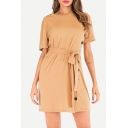 Basic Round Neck Short Sleeve Plain Button Down Side Tied Waist Khaki Mini Sheath Dress