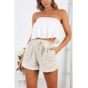 Womens Fancy Simple Plain Linen Drawstring Waist Culottes Pull On Shorts in Beige