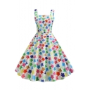 Hot Trendy Vintage Square Neck Sleeveless Allover Star Printed Midi Fit and Flared Dress